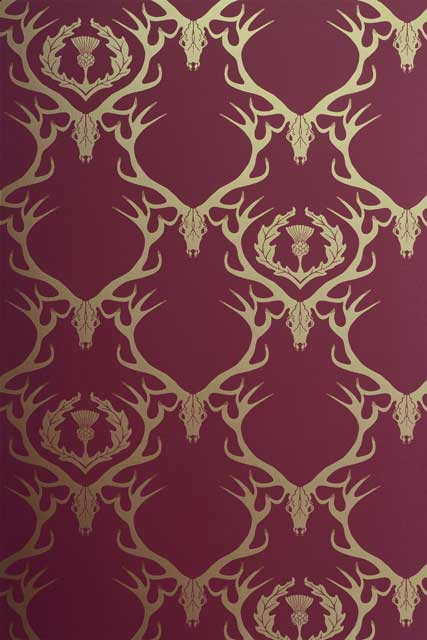 Deer damask wallpaper review for Interior designs red deer