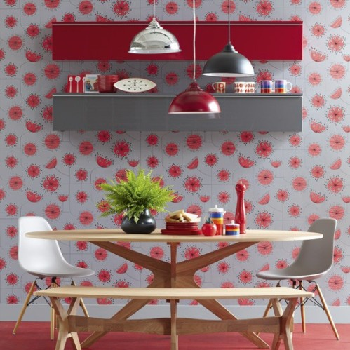 Dandelion Wallpaper Storm with Coral by Miss Print